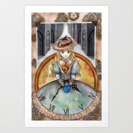 Clockgirl Art Print