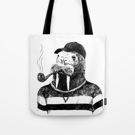 Walrus with a Pipe Tote Bag