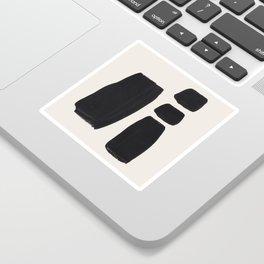 Mid Century Modern Minimalist Abstract Art Brush Strokes Black & White Ink Art Square Shapes Sticker