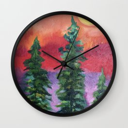 Fire in the Northern Sky Wall Clock