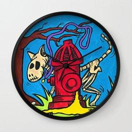 El Perro Malo (The Bad Dog) Dia de los Muertos Wall Clock