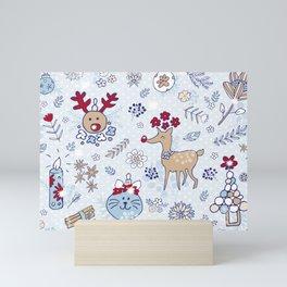 bright blue winter floral pattern Mini Art Print