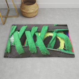 Green shoe laces Rug
