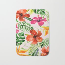 Tropical flowers and leaves on Pink background Bath Mat