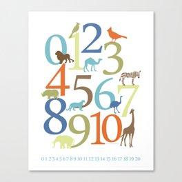 Animal Numbers -  Safari colorway Canvas Print