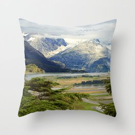 Alaskan Fairytale Landscape Scenic Mountains & Valley Throw Pillow