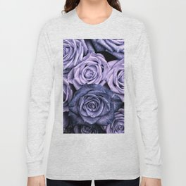 PURPLE ROSES floral flowers violet Long Sleeve T-shirt