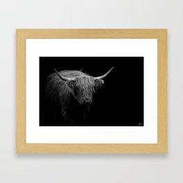 BW Hairy Coo Framed Art Print