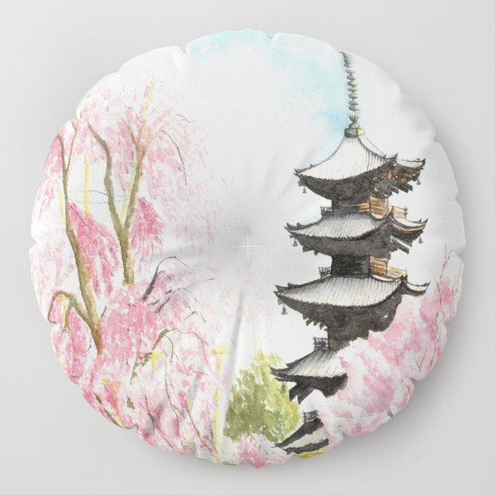Japanese Temple Watercolor Painting print by Suisai Genki , To-ji, Kyoto , Sakura , Cherry blossom Floor Pillow