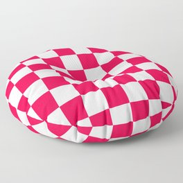 Cheerful Red Checkerboard Pattern Floor Pillow