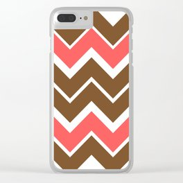 Big Chevron:  Chocolate Brown + Coral Clear iPhone Case
