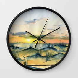 Sunset Over The Dunes Wall Clock