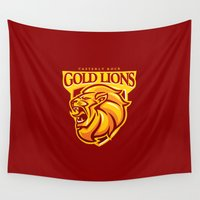 lions Wall Tapestries featuring Casterly Rock Gold Lions by WinterArtwork