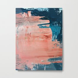 Energy: a vibrant minimal abstract piece in pink and blue by Alyssa Hamilton Art Metal Print