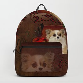 Cute chihuahua with roses Backpack