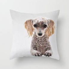 Bath Time for Rylie  (poodle) Throw Pillow
