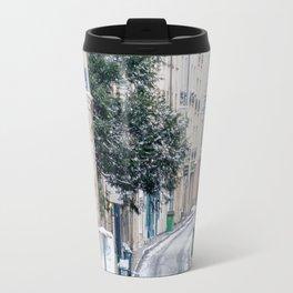 Snowy Latin Quarter in Paris France Travel Mug