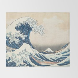 The Great Wave off Kanagawa by Katsushika Hokusai from the series Thirty-six Views of Mount Fuji Throw Blanket