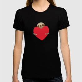 Valentines day card. Funny sloth with a red heart T-shirt