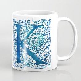Letter K Antique Floral Letterpress Coffee Mug