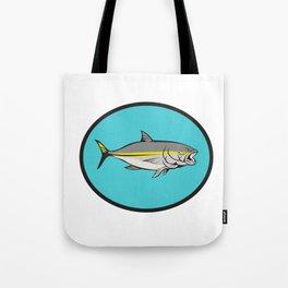 Yellowtail Kingfish Oval Cartoon Tote Bag