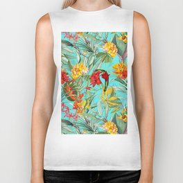 Vintage & Shabby Chic - Colorful Tropical Blue Garden Biker Tank