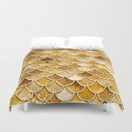 Gold Trendy Glitter Mermaid Scales Duvet Cover
