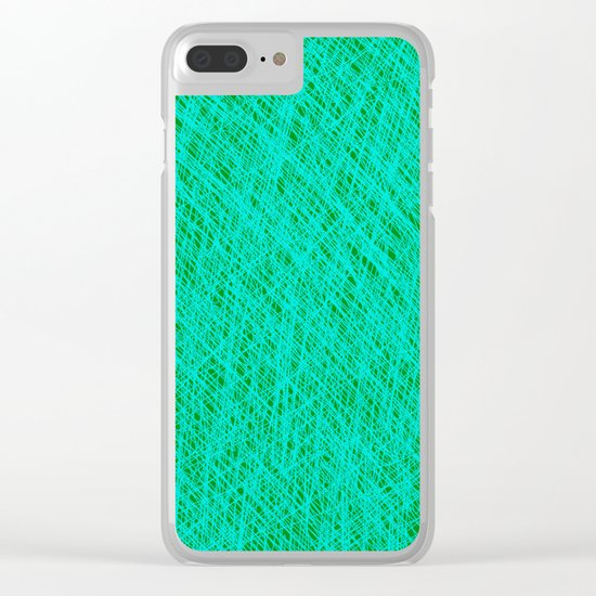 Expressive Blue (Abstract green and cyan) Clear iPhone Case