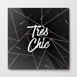 Tres Chic Black Geometric Marble Gold Triangles Metal Print