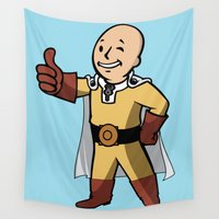 dragonball Wall Tapestries featuring One punch boy - Parody by franz