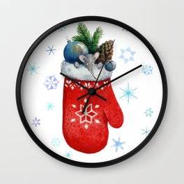 New Year's mouse looking out of a mittens with a fir branch, a cone, a toy and a bells. Wall Clock