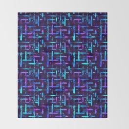 Blue color brush stripes plaid Throw Blanket