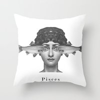 pisces Throw Pillows featuring Pisces by A.M.