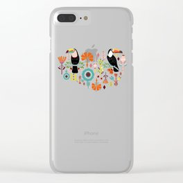 Colorful Toucans - grey Clear iPhone Case