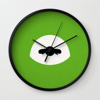kermit Wall Clocks featuring Kermit Bein' Green by Kory Hill