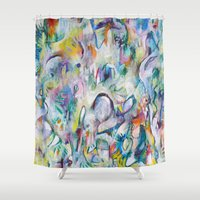 makeup Shower Curtains featuring White Makeup by Jessalin Beutler