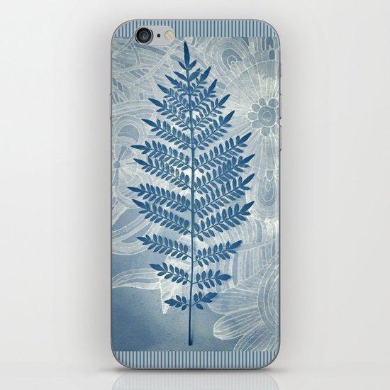 Jacaranda Leaf in Blue, Cream, Grey iPhone & iPod Skin