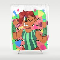 workout Shower Curtains featuring 80's Workout by Burgandy Balloons