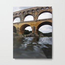 Roman aqueduct bridge - Pont du Gard in France Metal Print