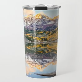 MAROON BELLS AUTUMN SUNRISE ASPEN COLORADO MOUNTAINS IN FALL Travel Mug