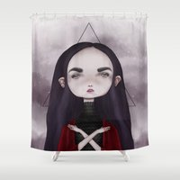 teen titans Shower Curtains featuring Teen Vampire  by Lili Um