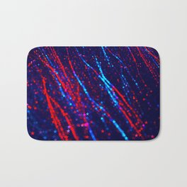 Red Blue Purple Stars Neon Glitter Confetti Colorful Pattern Fourth of July Presidents Day Fractal Bath Mat