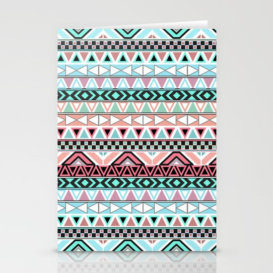 Pastel me   Andes Teal Pink Cute  Abstract Aztec Pattern Stationery Cards