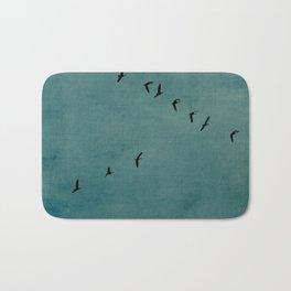GEESE FLYING - TEAL Bath Mat