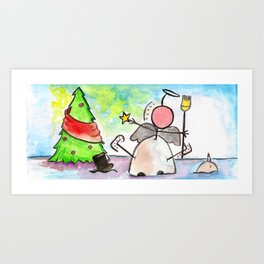 """#cagsticks """"The angel which dropped one a snowman next to a x'mas tree"""" Art Print"""