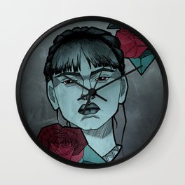 Girl with roses Wall Clock