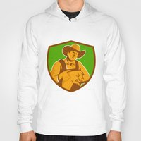 piglet Hoodies featuring Pig Farmer Holding Piglet Front Shield Retro by patrimonio