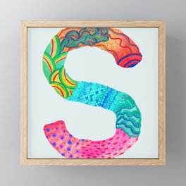 S for Sophie - Unique, personalised initial print. Framed Mini Art Print