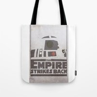 r2d2 Tote Bags featuring R2D2 by David Landau
