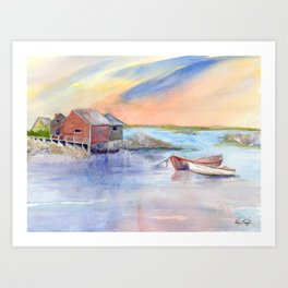 Maine Coast with Boats Art Print